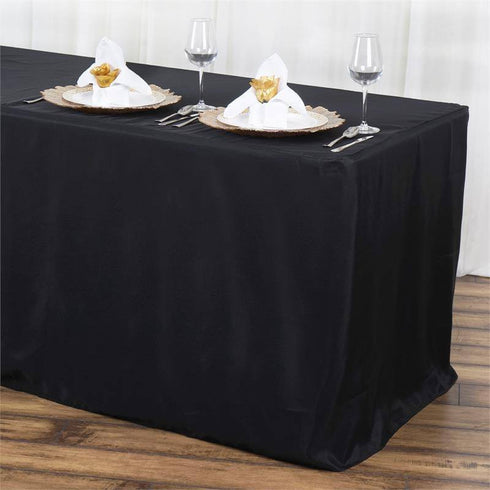 6FT Fitted BLACK Wholesale Polyester Table Cover Wedding Banquet Event Tablecloth