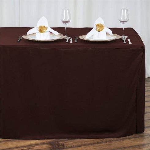 6FT Chocolate Fitted Polyester Rectangular Table Cover