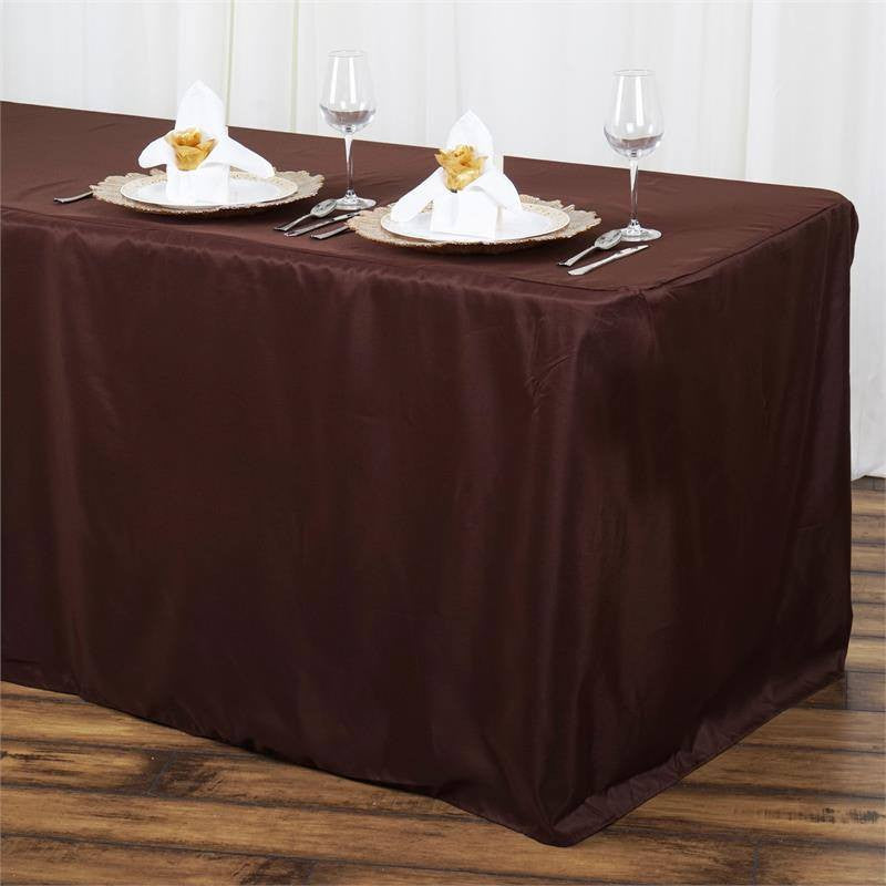 6FT Fitted CHOCOLATE Wholesale Polyester Table Cover Wedding Banquet Event Tablecloth