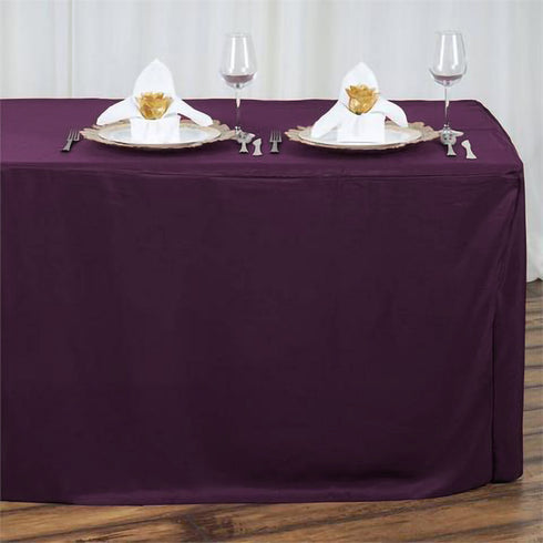 6FT Eggplant Fitted Polyester Rectangular Table Cover