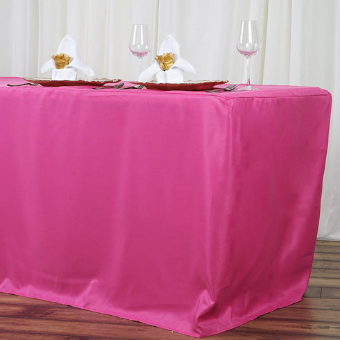 6FT Fushia Fitted Polyester Rectangular Table Cover
