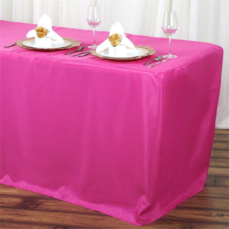 6FT Fitted FUSHIA Wholesale Polyester Table Cover Wedding Banquet Event Tablecloth