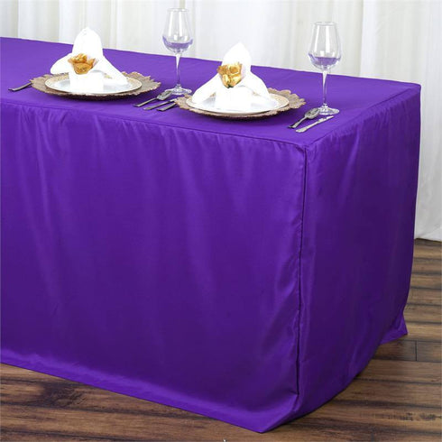 6FT Fitted PURPLE Wholesale Polyester Table Cover Wedding Banquet Event Tablecloth