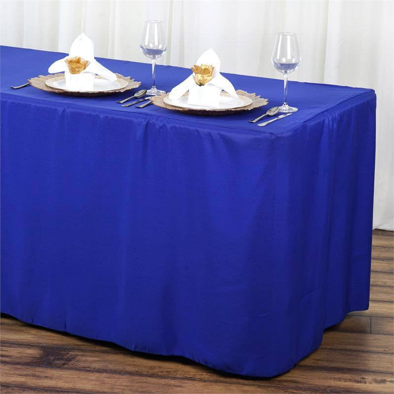 6FT Fitted ROYAL BLUE Wholesale Polyester Table Cover Wedding Banquet Event Tablecloth