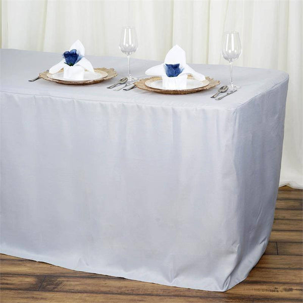 Silver Fitted 6 Feet Tablecloths Efavormart
