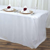 6FT White Fitted Polyester Rectangular Table Cover