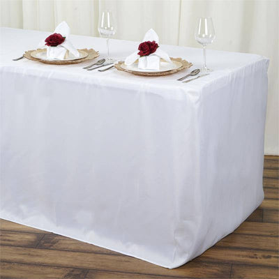 6FT Fitted WHITE Wholesale Polyester Table Cover Wedding Banquet Event Tablecloth & 6FT White Fitted Polyester Rectangular Table Cover | eFavorMart