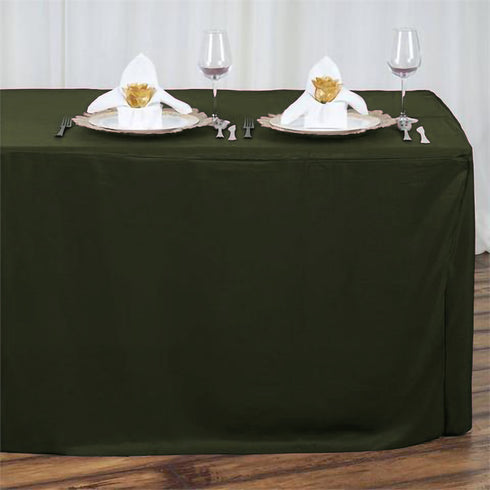 6FT Moss Green Fitted Polyester Rectangular Table Cover