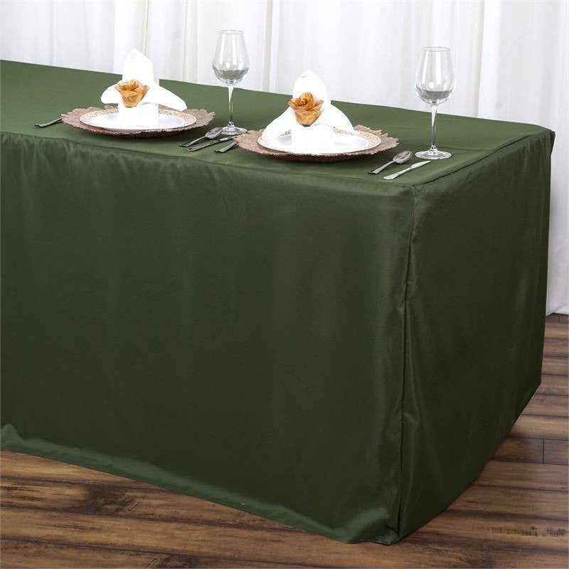 6FT Fitted MOSS/WILLOW Wholesale Polyester Table Cover Wedding Banquet Event Tablecloth