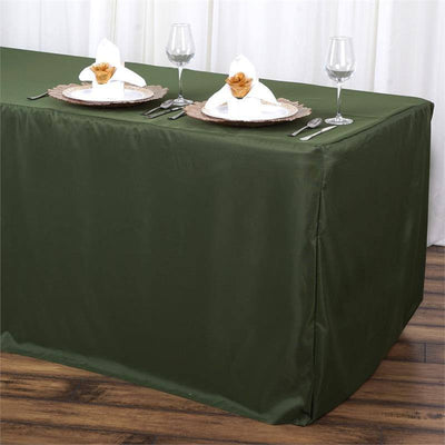 6FT Fitted MOSS/WILLOW Wholesale Polyester Table Cover Wedding Banquet Event Tablecloth & 6FT Moss Green Fitted Polyester Rectangular Table Cover | eFavorMart