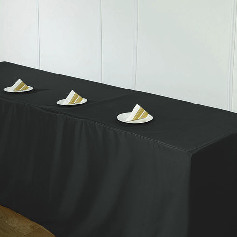 8FT Black Fitted Polyester Rectangular Table Cover