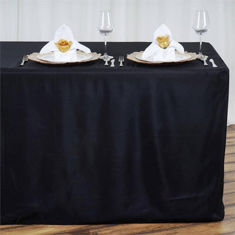 8FT Fitted BLACK Wholesale Polyester Table Cover Wedding Banquet Event Tablecloth