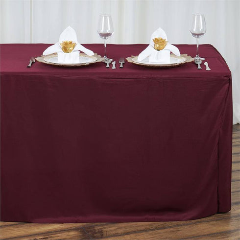 8FT Fitted BURGUNDY Wholesale Polyester Table Cover Wedding Banquet Event Tablecloth