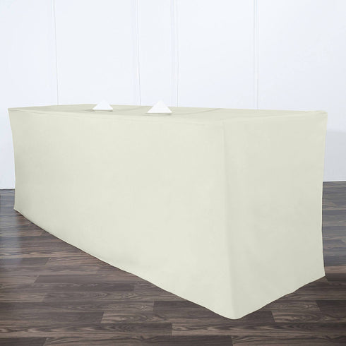 8FT Fitted IVORY Wholesale Polyester Table Cover Wedding Banquet Event Tablecloth