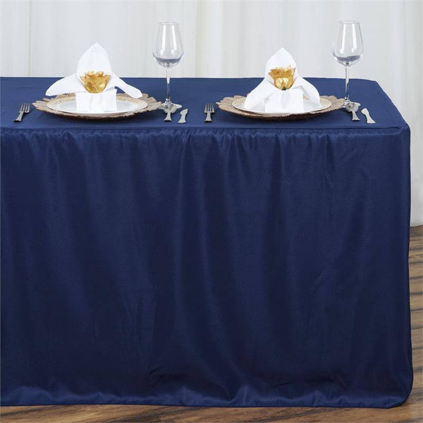 Navy Blue Fitted 8 Feet Tablecloths Efavormart