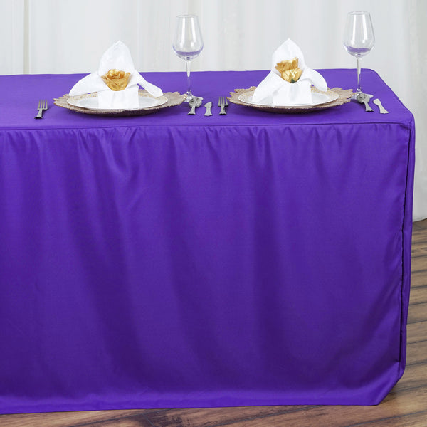 8FT Purple Fitted Polyester Rectangular Table Cover