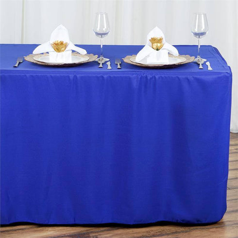 8FT Fitted ROYAL BLUE Wholesale Polyester Table Cover Wedding Banquet Event Tablecloth