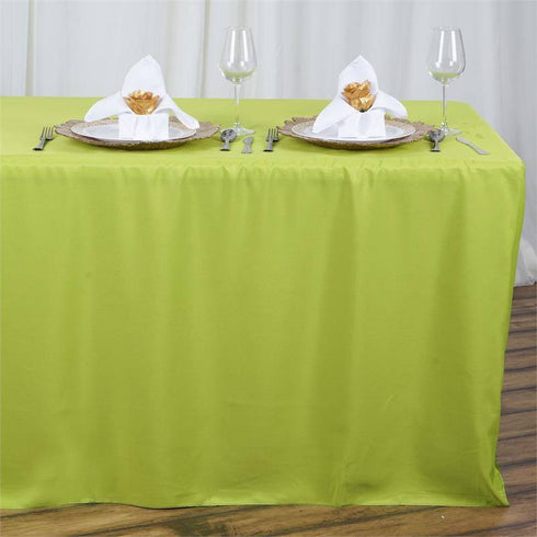 8ft Sage Fitted Polyester Rectangular Table Cover Efavormart