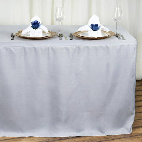 8FT Fitted SILVER Wholesale Polyester Table Cover Wedding Banquet Event Tablecloth