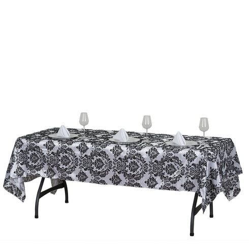 "60x102"" Black Rectangle Velvet Flocking Design Taffeta Damask Tablecloth"
