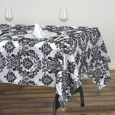 "60x102"" Velvet Flocking Design Tafetta Tablecloth - Black"