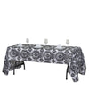 "60X126"" Black Rectangle Velvet Flocking Design Taffeta Damask Tablecloth"