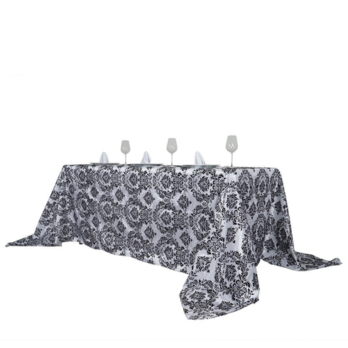 "90x132"" Black Rectangle Velvet Flocking Design Taffeta Damask Tablecloth"
