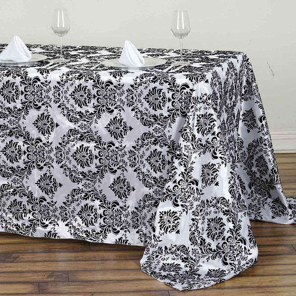 90x132 Quot Black Round Flocking Damask Tablecloth Wedding