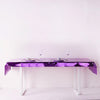 40 inch x 90 inch Purple Metallic Foil Rectangle Tablecloth, Disposable Table Cover
