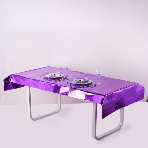 "40""x90"" Purple Metallic Foil Rectangle Tablecloth, Disposable Table Cover"