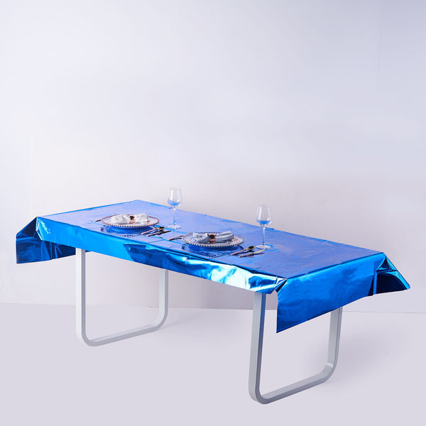 "40""x90"" Royal Blue Metallic Foil Rectangle Tablecloth, Disposable Table Cover"