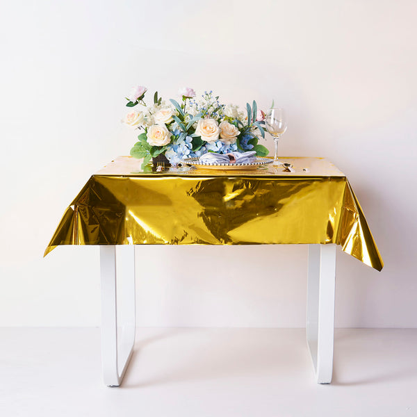 "50""x50"" Gold Metallic Foil Square Tablecloth, Disposable Table Cover"