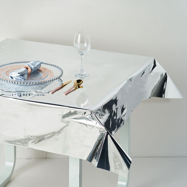 "50""x50"" Silver Metallic Foil Square Tablecloth, Disposable Table Cover"