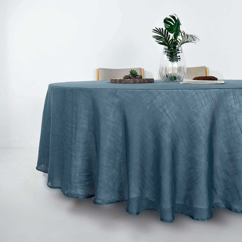 "108"" Blue Linen Round Tablecloth, Slubby Textured Wrinkle Resistant Tablecloth"