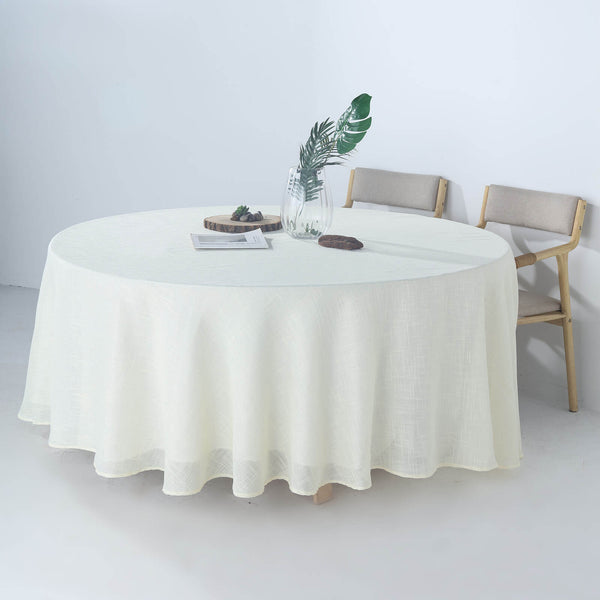"108"" White Linen Round Tablecloth, Slubby Textured Wrinkle Resistant Tablecloth"
