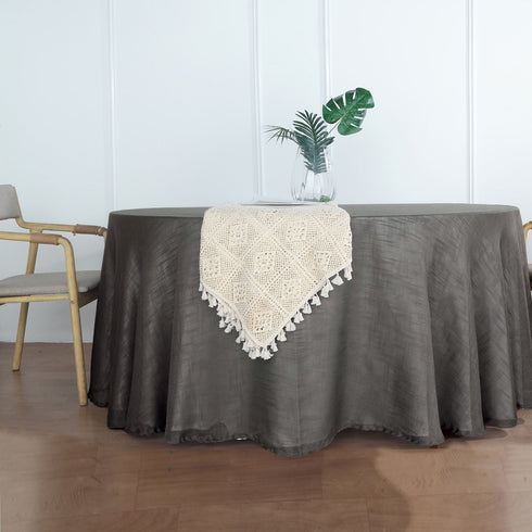 120 inch Charcoal Gray Premium Faux Linen Round Tablecloth