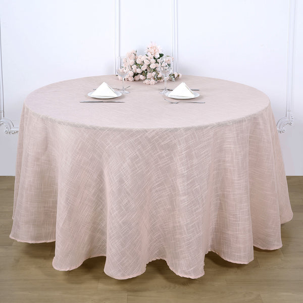 "120"" Linen Round Tablecloth, Slubby Textured Wrinkle Resistant Tablecloth - Blush 
