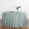 120 inch Dusty Blue Premium Faux Linen Round Tablecloth