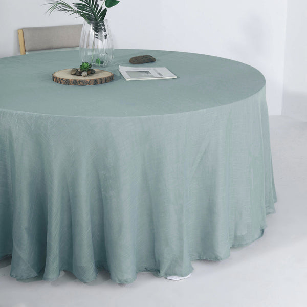 "120"" Dusty Blue Linen Round Tablecloth, Slubby Textured Wrinkle Resistant Tablecloth"