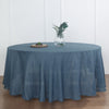 120 inch Blue Premium Faux Linen Round Tablecloth