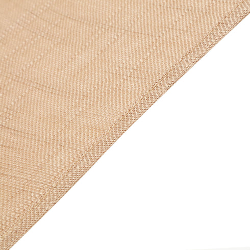 120 Natural Linen Round Tablecloth, Slubby Textured Wrinkle Resistant Tablecloth