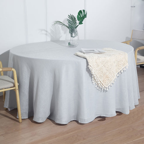 120  Silver Linen Round Tablecloth, Slubby Textured Wrinkle Resistant Tablecloth