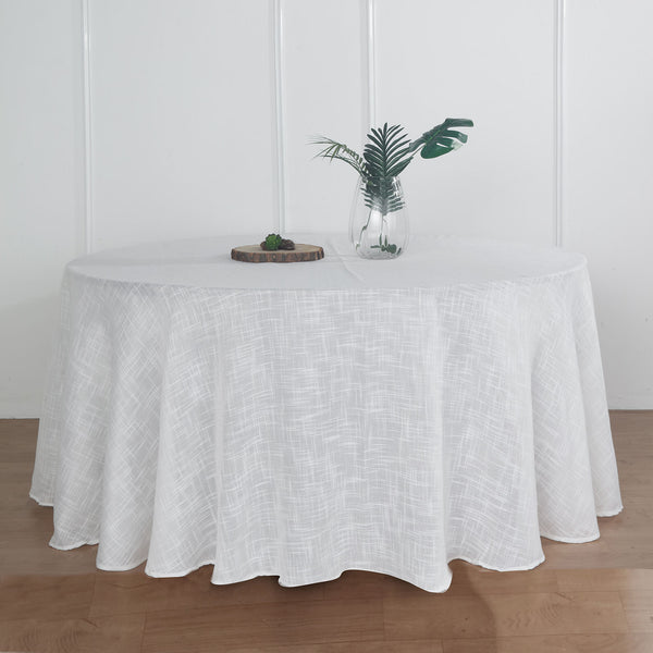 "120"" White Linen Round Tablecloth, Slubby Textured Wrinkle Resistant Tablecloth"