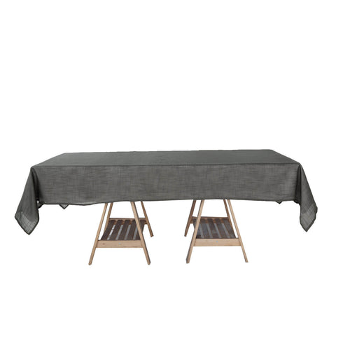 60x102 Charcoal Gray Linen Rectangular Tablecloth, Slubby Textured Wrinkle Resistant Tablecloth