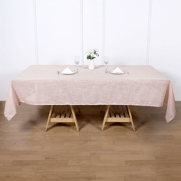 "60""x102"" Linen Rectangular Tablecloth, Slubby Textured Wrinkle Resistant Tablecloth - Rose Gold 