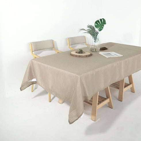 60x102 Taupe Linen Rectangular Tablecloth, Slubby Textured Wrinkle Resistant Tablecloth