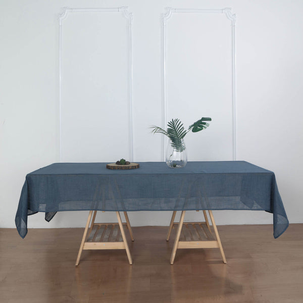"60""x102"" Blue Rectangular Tablecloth, Linen Table Cloth With Slubby Textured, Wrinkle Resistant"