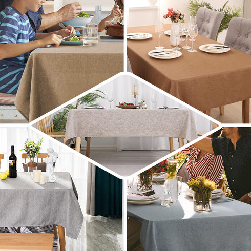 "60""x102"" Dusty Blue Linen Rectangular Tablecloth, Slubby Textured Wrinkle Resistant Tablecloth"
