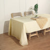 60x126 Ivory Linen Rectangular Tablecloth, Slubby Textured Wrinkle Resistant Tablecloth
