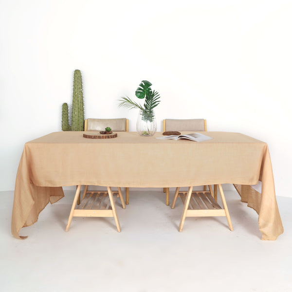 "60""x126"" Natural Linen Rectangular Tablecloth, Slubby Textured Wrinkle Resistant Tablecloth"